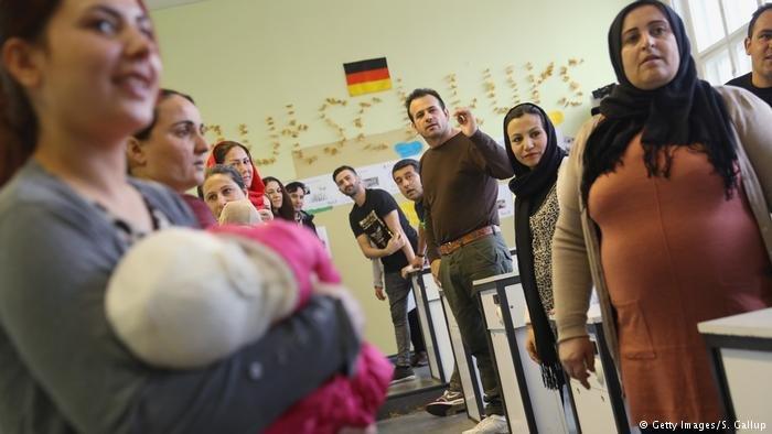 Réfugiés dans une salle de classe en Allemagne