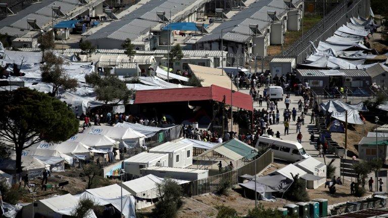 Le camp de Moria sur l'île de Lesbos en Grèce. Crédits : Reuters/Alkis Konstantinidis (archive)