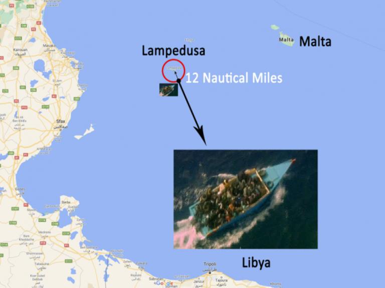 صورة نشرتها القوات المسلحة المالطية للقارب المتعلق بالأزمة. المصدر: القوات المسلحة المالطية