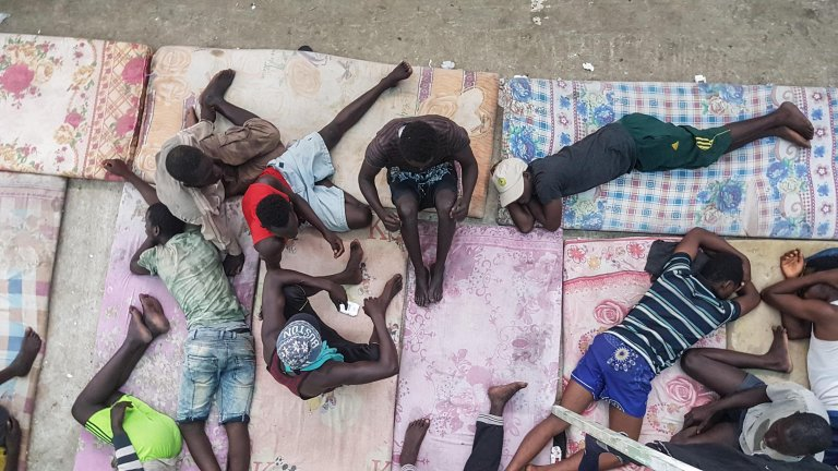 Migrants at Libya's Zawiya detention center | Credit: Zuhair Abusrewil