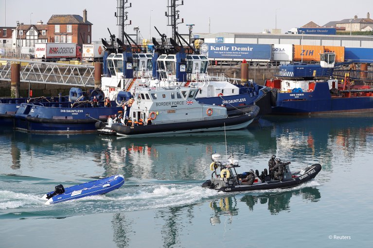From File: Border Force bring in a boat used by migrants to cross the Channel at Dover Harbor in the UK | Photo: REUTERS/Peter Nicholls