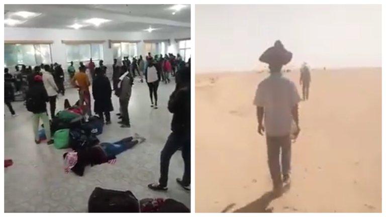 صورة شاشة من شريطي فيديو يوثقان لترحيل المهاجرين في الجزائر.