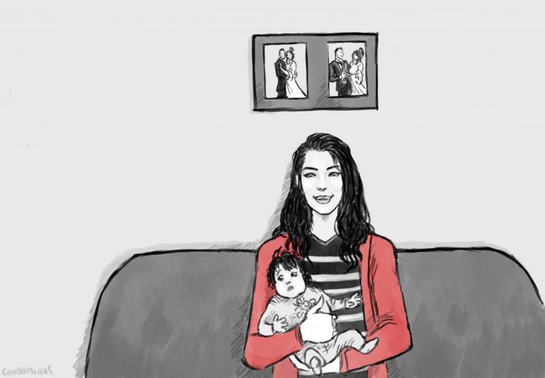 هديل في منزلها الصغير في مدينة ليسيس الفرنسية. الرسوم: بابتيست كوندوميناس لمهاجر نيوز