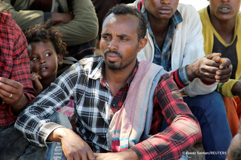 FROM FILE: Ethiopian migrants gather to protest their treatment in Yemen in March 2021   Photo: Fawaz Salman / REUTERS