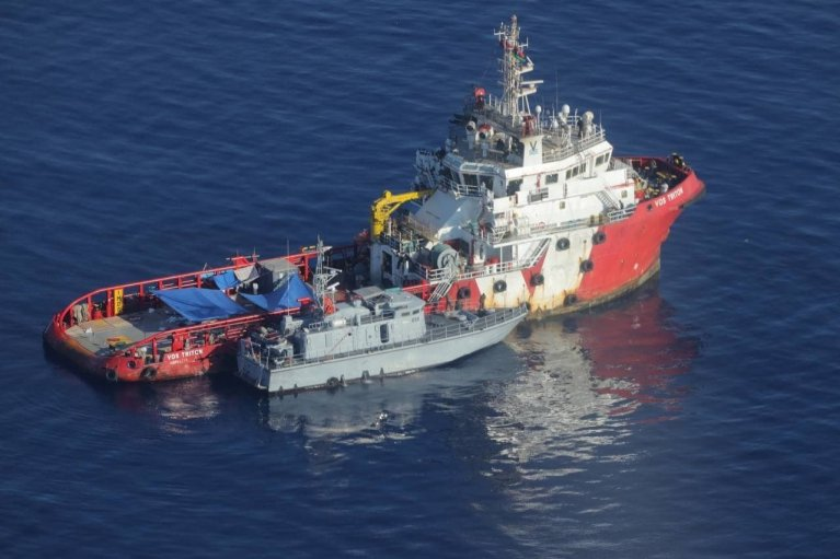 Pictures from Sea Watch appear to show a Libyan coast guard vessel alongside the Vos Triton in the Mediterranean | Source: Sea-Watch Twitter