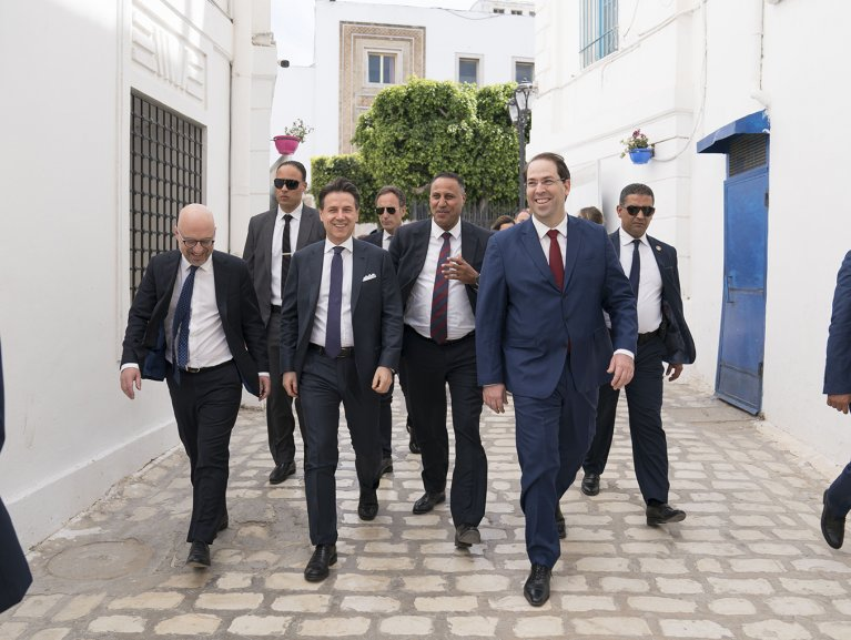 A walkabout with the Italian and Tunisian Prime Ministers and their staff in Tunisia on 30.04.19 on the occasion of the signing of accords between the two countries | Credit: Use of this photo with kind permission of the Italian Government under the Creative Commons Licence CC-BY-NC-SA 3.0 IT