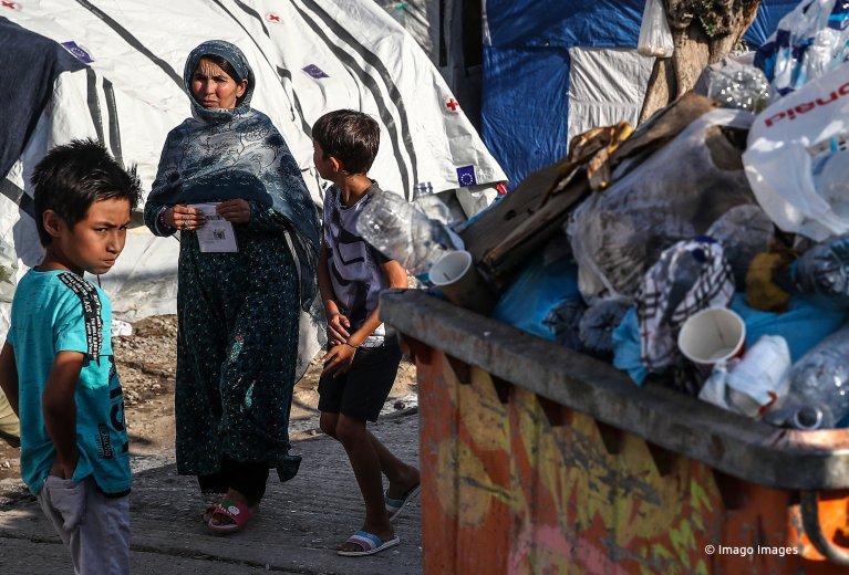 Migrants at the Moria reception center on Lesbos, October 11, 2019 | Photo: Imago/Valery Sharifulin/TASS