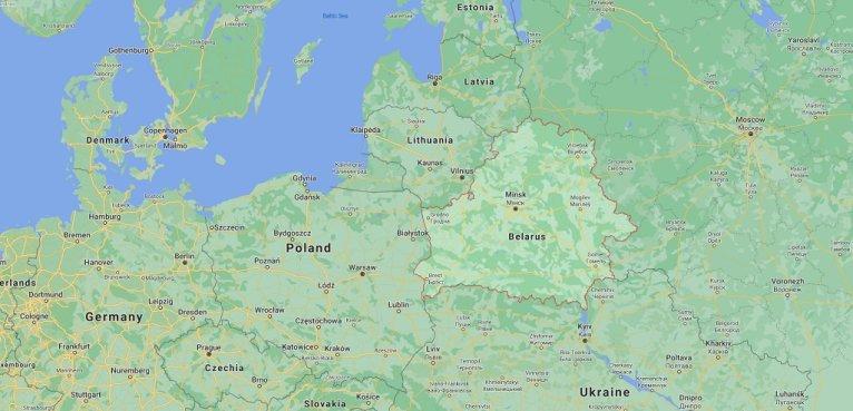 خريطة مأخوذة من موقع خرائط غوغل تظهر حدود بيلاروسيا المشتركة مع ليتوانيا. المصدر: غوغل