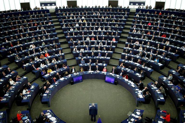Reuters/Christian Hartmann  Le Parlement européen de Strasbourg lors de l'élocution du président de la commission européen Jean-Claude Juncker.
