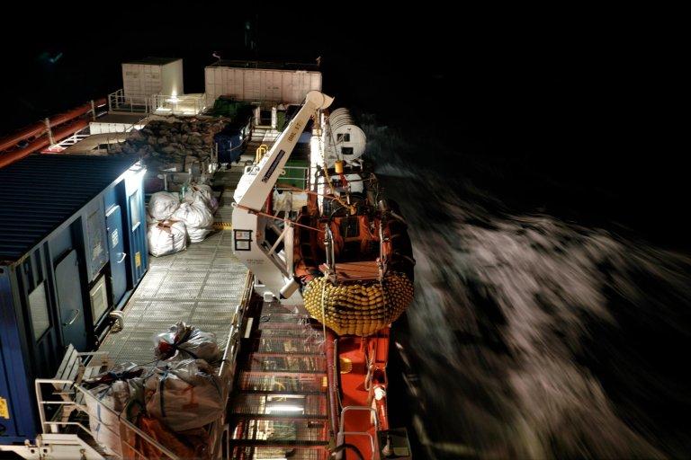 L'Ocean Viking en mer Méditerranée. Crédit : RFI / Guilhem Delteil