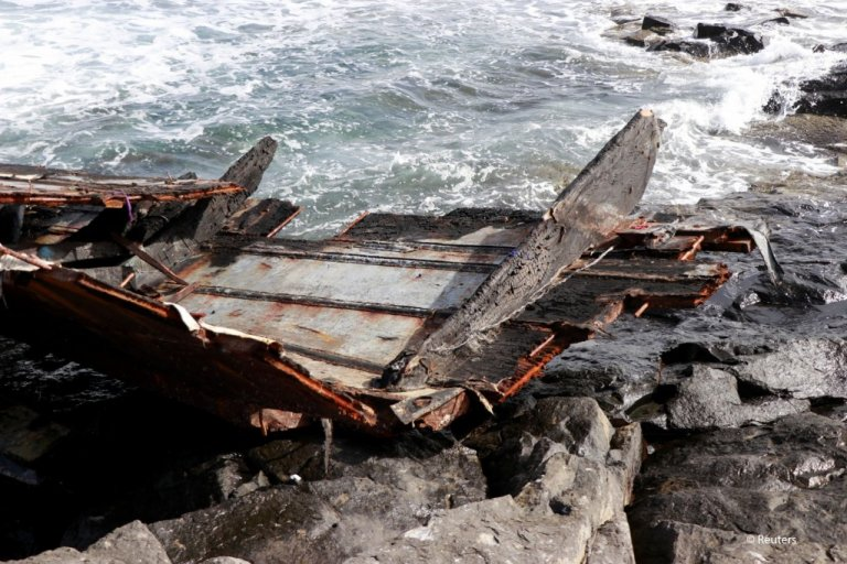 From file: Pieces of a damaged boat carrying migrants from Senegal after it capsized near Cape Verde on November 19, 2020   Photo: Jorge Avelino/Reuters