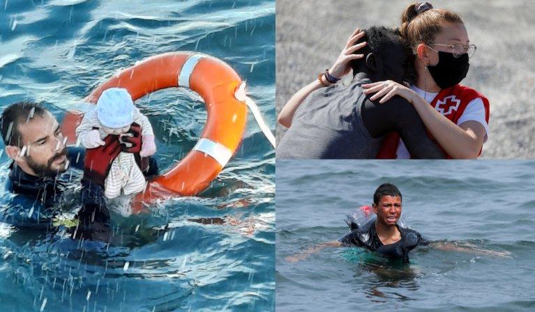 Ces trois images prises à Ceuta sont devenues virales sur les réseaux sociaux. Crédit : Reuters / Garde civile espagnole