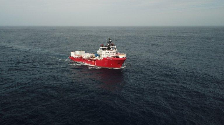 L'Ocean Viking a quitté le port de Marseille le 4 août pour les eaux internationales. Crédit : Anthony Jean/SOS MEDITERRANEE