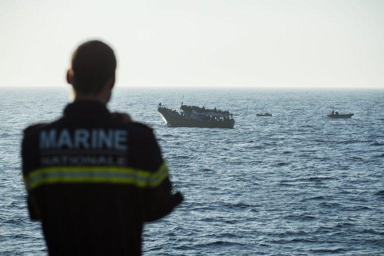 A patrol vessel rescuing migrants during an EU sea patrol mission | Credit: Triton/Frontex/Archive/EPA