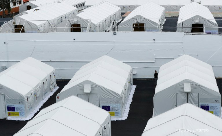 Camp Canarias 50, installed by the Spanish government to house migrants who were in hotels in the south of the island, are seen in Gran Canaria, Spain January 26, 2021 | Photo: REUTERS/Borja Suarez
