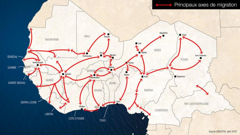 Deux-tiers à trois-quart des Africains qui quittent leur pays restent sur le continent. Crédit : Studio Graphique - France Médias Monde