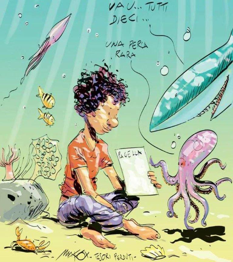 رسم كاريكاتيري لماكوس يستعيد ذكرى مأساة ضحايا مجهولي الهوية بين حطام السفينة، ومن بينهم صبي مالي. المصدر: وكالة أنسا