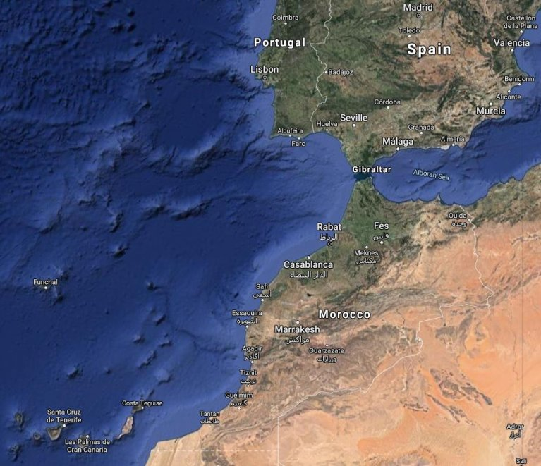 Map of Spain's Canary Islands (bottom left), northwest Africa and mainland Spain | Source: Google Maps