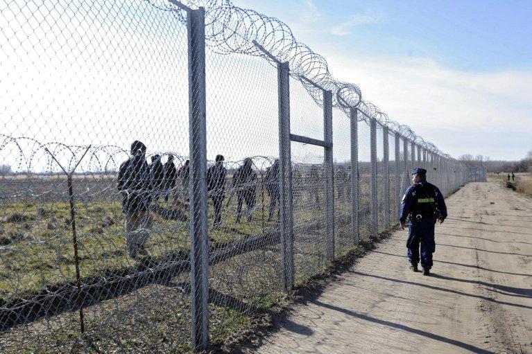 ANSA / ضابط مجري يراقب المهاجرين في الأراضي الصربية عبر الأسلاك الشائكة بين حدود الدولتين.