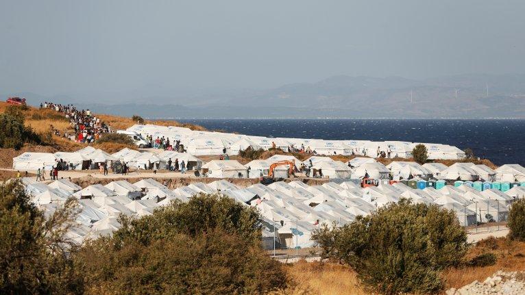 مخيم المهاجرين الجديد في جزيرة ليسبوس اليونانية. المضدر: رويترز/ يارا ناردي