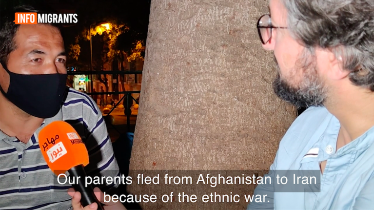 Screenshot from video report on homeless refugees in Athens, Greece, October 2020   Source: InfoMigrants