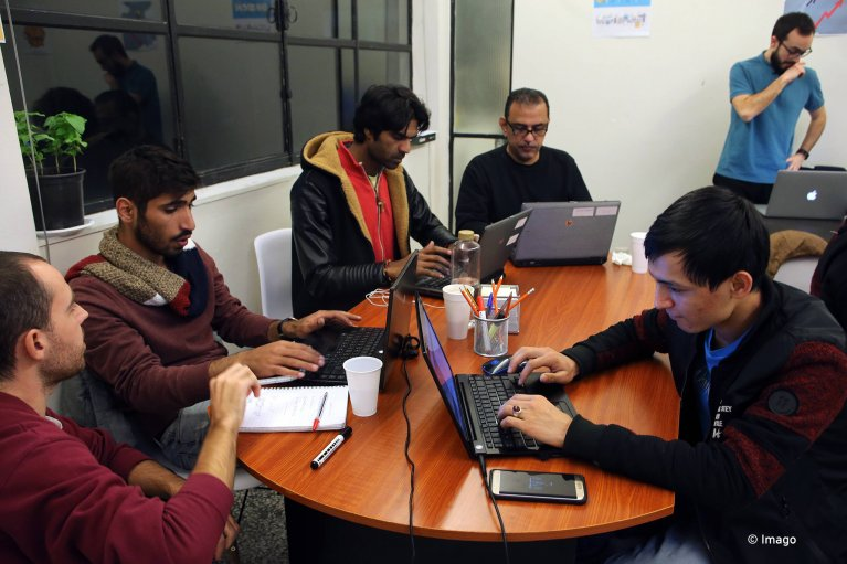 Young people learn web development skills at Social Hackers Academy in Athens, Greece on Jan 24 2018 | Photo: Imago / Marios Lolos