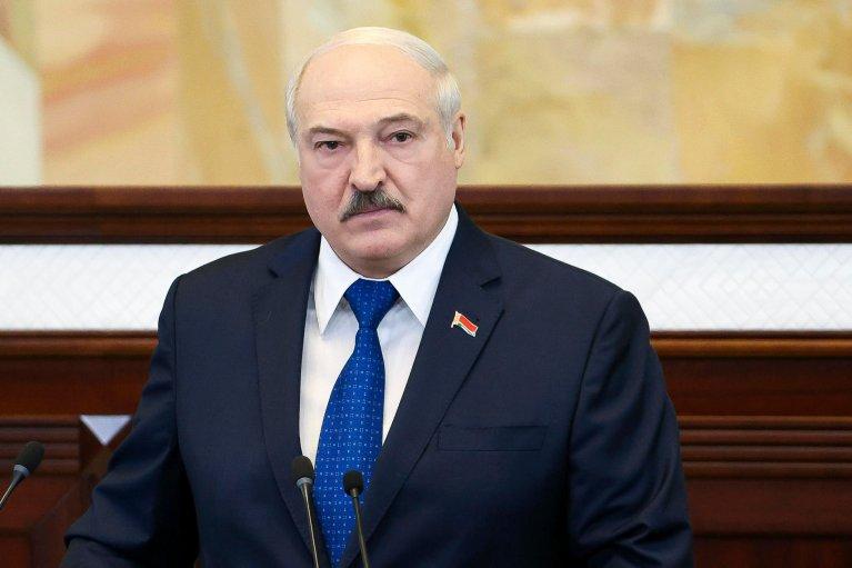 Le président Alexandre Loukachenko devant le Parlement biélorusse le 26 mai 2021. Crédit : AP