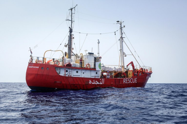 "The ""Seefuchs"" during a rescue mission in the Mediterranean off the Libyan coast. Photo: Christian Marquardt/Sea Eye"