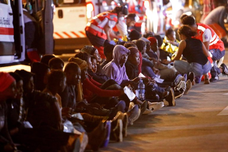 Migrants arriving to the trading port in Melilla after they were rescued by Sea Rescue members at the Chafarinas Islands on the Mediterranean Sea | PHOTO/ARCHIVE/EPA/FG Guerrero