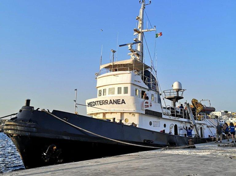 The Mediterranea ship docked in the port of Lampedusa   Photo: ANSA/Elio Desiderio