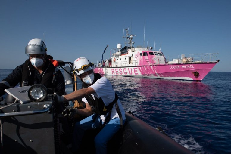 The new migrant rescue ship Louise Michel is being sponsored by Banksy | Photo: Sea-Watch International via Twitter