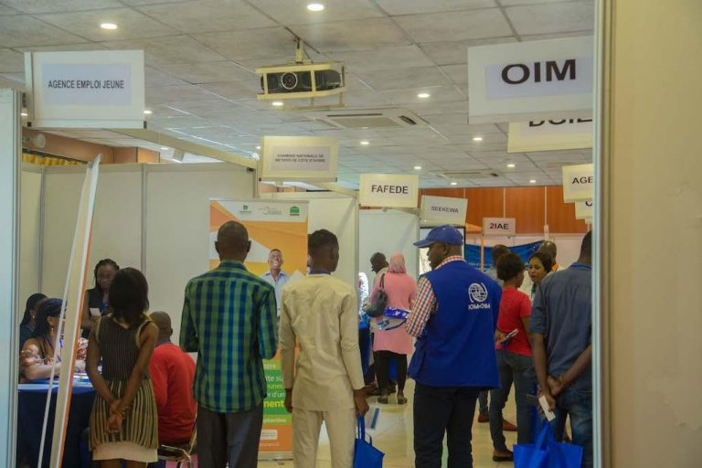 Over 350 participants attended the first job fair for returned migrants in Cote d'Ivoire | Photo: IOM/Mohamed Diabate
