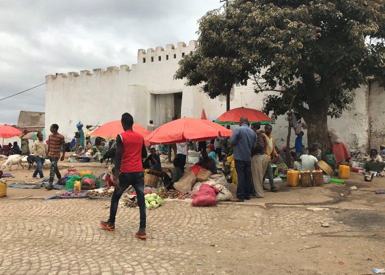 سوق في أحد أحياء مدينة هرر شرق إثيوبيا، 22 تموز/ يوليو عام 2018 | المصدر: رويترز