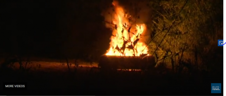 A screenshot of the fire on Chios from a Euronews and Reuters video | Source: Screenshot from Reuters video