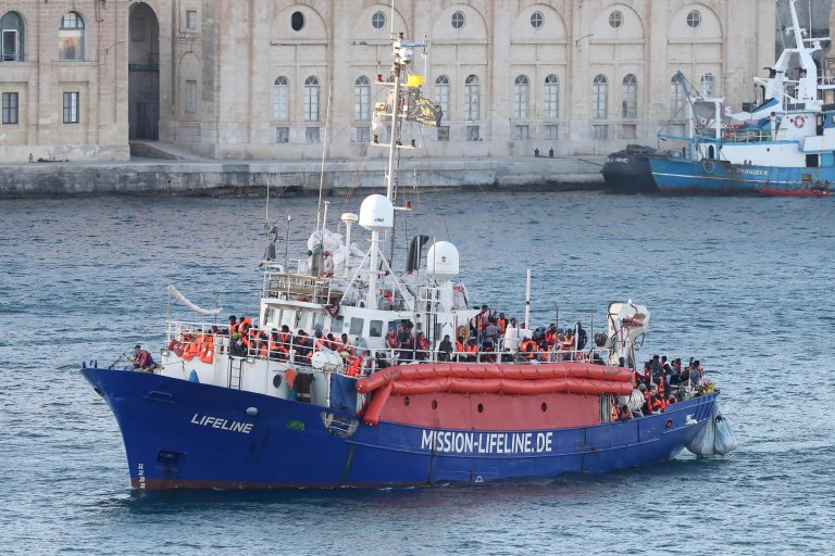 The Lifeline NGO rescue vessel stranded in the Mediterranean with more than 200 migrants on board enters the grand harbor in Valletta, Malta.PHOTO/ARCHIVE/EPA/DOMENICAQUILINA