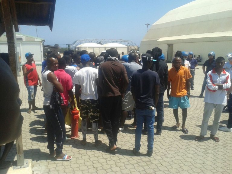 Migrants at the repatriation center in Bari | Photo: ANSA