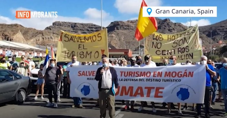 Demonstration in Gran Canaria, Spain, November 27, 2020 | Source: Screenshot InfoMigrants