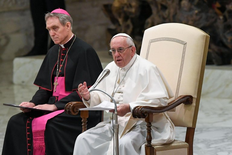 Pope Francis during Wednesday's general audience   Credit: ANSA