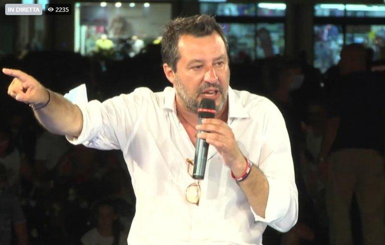 Matteo Salvini being interviewed by Bruno Vespa at the 'Festa della Lega' in Milano Marittima, 31 July 2021 | Source: Facebook page: Lega Salvini Premier