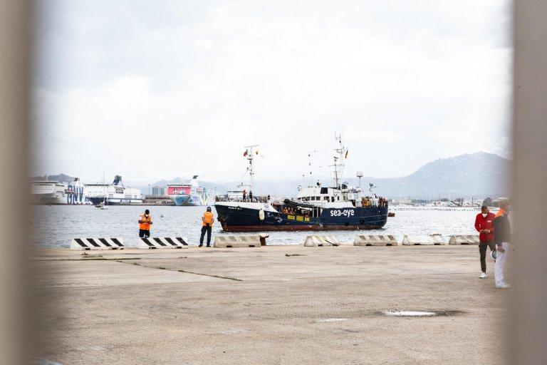The NGO rescue ship Alan Kurdi at the port of Olbia, Italy   Photo: ANSA/Gian Mario Sias