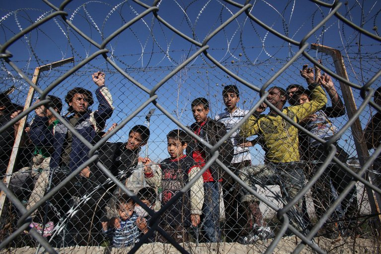 Undocumented immigrants in a detention center in Kyprinos, in the region of Evros, at the Greek-Turkish borders - Credit: Photo/Archive/EPA