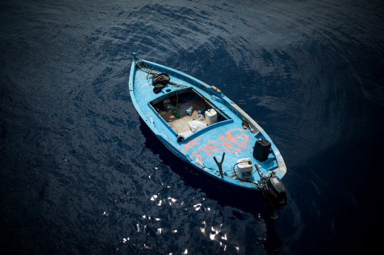 Many of those rescued from the Mediterranean were travelling in wooden boats unfit for the open sea   Photo credit: Nick Jaussi & sea-eye.org