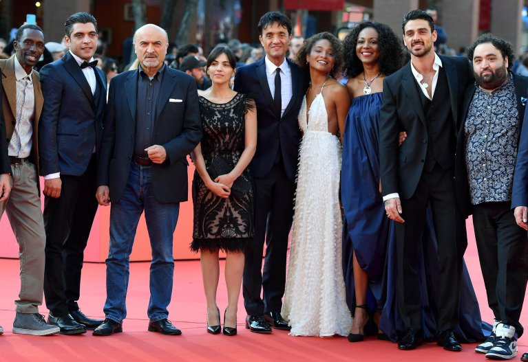 Director Giulio Base (center) with cast members of the film 'Bar Giuseppe' at the 14th annual Rome Film Festival | Photo: ANSA/ETTORE FERRARI