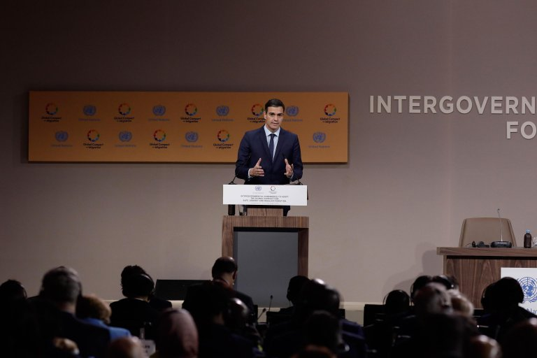 Spanish Prime Minister Pedro Sanchez at the Global Compact summit in Marrakech | Photo: ANSA