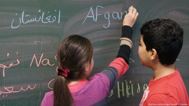 Young refugees at a German school
