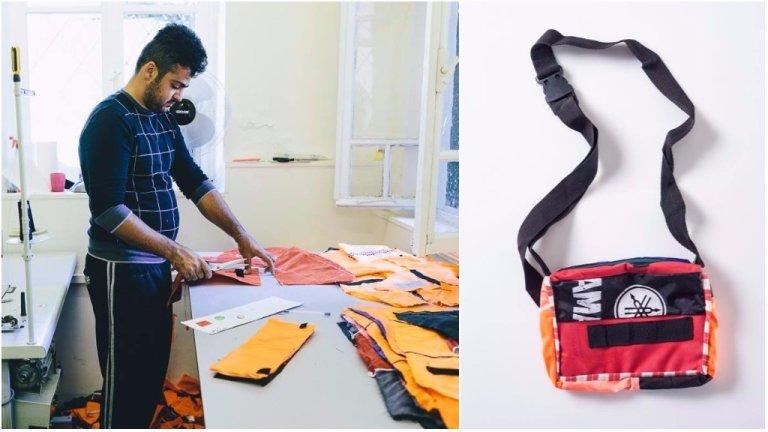 Un migrant en train de découper un gilet de sauvetage dans l'atelier Safe Passage Bags, à Lesbos, et un sac à main terminé. Photos Janusz Ratecki.
