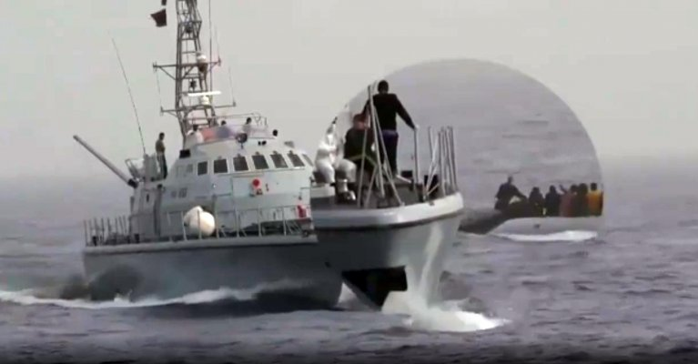 """A video frame provided by Sea Watch, which denounces the behavior of Libyan coast guards: """"people were hit and forced to go back""""   Photo: SEA WATCH/ANSA"""