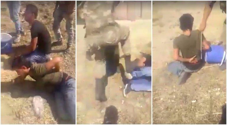 Captures d'écran de la vidéo qui montre les quatre Syriens violemment frappés par des soldats turcs, le 28 juillet 2017.
