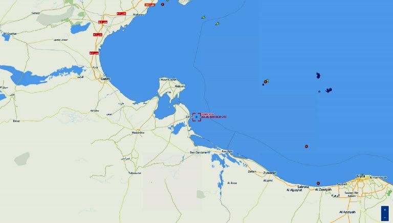 The map shows the position of Sarost 5 off the Tunisian coast