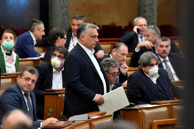 Le Premier ministre hongrois Viktor Orban lors d'une session du parlement, le 30 mars à Budapest. Photo : Reuters.